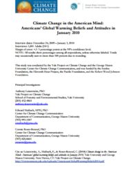 Climate Change in the American Mind: Americans' Global Warming Beliefs and Attitudes in January 2010