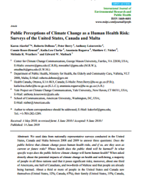 Public Perceptions of Climate Change as a Health Risk: Surveys of the United States