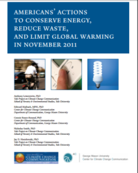 Americans' Actions to Conserve Energy, Reduce Waste and Limit Global Warming: November 2011