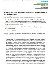 A Survey of African American Physicians on the Health Effects of Climate Change
