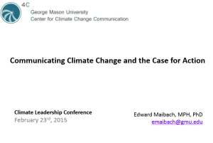 Communicating Climate Change and the Case for Action