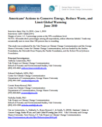 Americans' Actions to Conserve Energy, Reduce Waste, and Limit Global Warming: June 2010