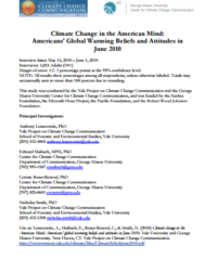 Americans' Global Warming Beliefs and Attitudes: June 2010