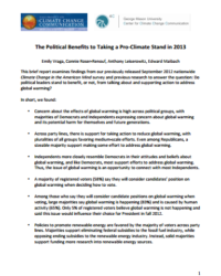 The Political Benefits of Taking a Pro-Climate Stand in 2013: September 2012