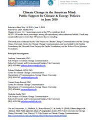 Public Support for Climate and Energy Policies: June 2010
