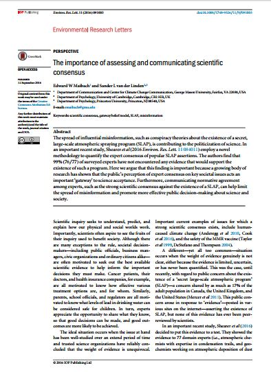 communicating the scientific consensus on climate change To understand complex science subjects such as climate change  strategies  involving consensus messaging in which scientists and their partners.