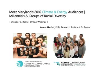 Meet Maryland's 2016 Climate & Energy Audiences: Millennials & Groups of Racial Diversity