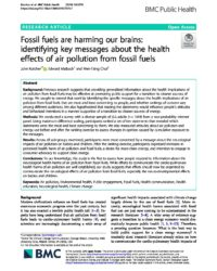 Fossil fuels are harming our brains: Identifying key messages about the health effects of air pollution from fossil fuels